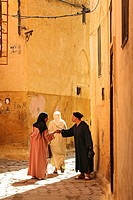 Locals at an alley of Meknes´ medina, Meknes, Morocco, Africa