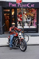 Man riding a bike, Greenwich Village, Manhattan, New York City, New York, USA