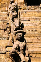 Statues beside stairs, Siddhi Lakshmi Temple, Bhaktapur, Nepal