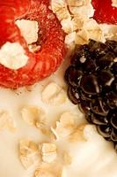 Close up of berries in yogourt