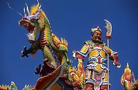 Colourful figures on a Tao temple under blue sky, Taiwan, Asia