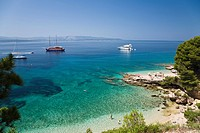 Beach and boats in a little bay, Brac Island, Dalmatia, Croatia, Europe