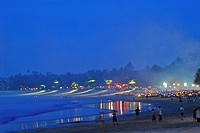 Market on the beach in the evening, Jimbaran, Bali, Indonesia, Asia