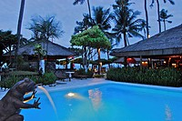 Pool and Restaurant of the La Taverna Hotel in the evening, Sanur, South Bali, Indonesia, Asia