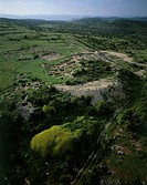 Aerial view of the The ancient ruins of the city of Yarmuth