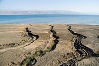 Aerial photograph of the northern basin of the Dead Sea