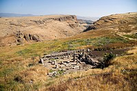 Aerial photograph of an ancient synagogue of Arbel in the Sea of Galilee