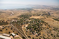 Aerial photograph of the village of Kahal in the sea of Galilee
