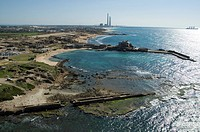 Aerial photograph of the ancient port of Caesarea