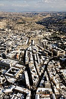 Aerial photograph of the old city of Jerusalem after snow storm