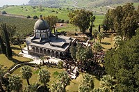 Aerial photograph of the mount of Beatitudes in the Sea of Galilee