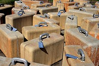 100 Suitcases made of concrete and aluminium, modern art at the city of Viinistu, Estonia, Eastern Europe