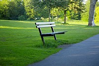 Wooden seat in park