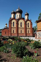 onion domes of russian orthodox monastery Puehtitsa in Northern Estonia, Baltic State, Europe