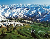 Seaward Kaikoura Range near Waiau Canterbury aerial view New Zealand
