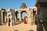 The wedding hall or Kalyana Mantapa with 38 carved monolithic pillars in Veerabhadra Temple16th century, Lepakshi ,Andhra Pradesh