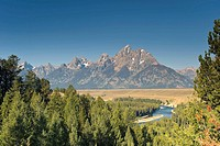 Snake River Overlook and Teton Mountain Range, Grand Teton National Park, Wyoming, USA