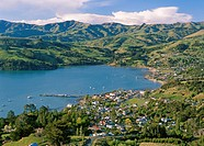 Akaroa township Banks Peninsula aerial view New Zealand