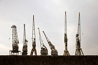 Old cranes at port, Antwerp, Flanders, Belgium