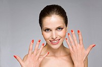 Female beauty model with hands