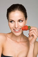 female beauty with strawberry