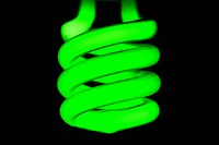 Close up of green fluorescent bulb