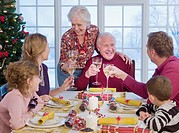 Multi_generation family toasting at Christmas dinner