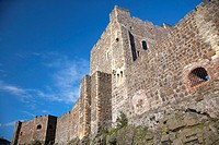 walls and keep of carrickfergus castle county antrim northern ireland uk