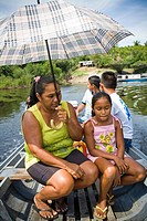 Woman with Children in the Boat, Terra Preta Community, Iranduba, Amazonas, Brazil