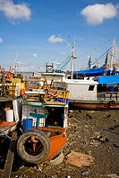 Boats in front of the Market Ver_o_Peso, River, Belém, Pará, Brazil