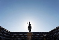 Plaza Mayor is the central plaza or square in Madrid, built during the Habsburg period, with a statue of Philip III in the centre.