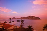 Idillic view of holiday resort at dawn, Mazatlan, Sinaloa State, Mexico