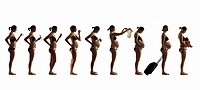 Composite silhouette of woman illustrating nine months of pregnancy.