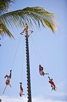 Papantla Fliers from Veracruz performing folkloric Show, Golden Zone, Mazatlan, Sinaloa, Mexico