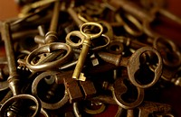 Stack of rusted keys, close up
