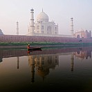 Person in boat in front of Taj Mahal, Agra, India