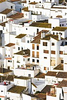 Elevated view of moorish houses, Casares, Malaga Province, Spain