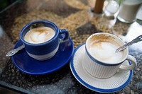 Two cups of coffee on bar counter, Antigua, Guatemala