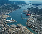Aerial view of Nagasaki harbor and Nagasaki, Nagasaki Prefecture, Japan