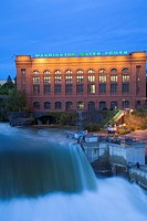 Lower Falls of Spokane River during major food in Riverfront Park, Spokane, Palouse, Washington, USA