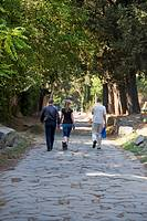 Walkers on the Appia Antica, Appian, Way, Rome, Italy