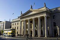 general post office GPO with irish national tricolour flag flying in o'connell street dublin