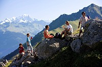 France, Savoie, Valmorel, La Vanoise Massif, Creve Tete 2341m and Mont Blanc mountain in the background, model release