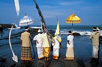 Indonesia, Bali, the Mekiyis purification ceremonies at the Pura Tanah Lot Temple, each community brings the statues of its deities to the sea to puri...