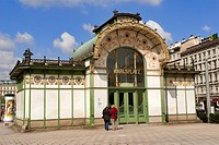 Austria, Vienna, the entrance to Karlsplatz underground station, artwork by Otto Wagner 1899 with Art Nouveau style Jugendstill