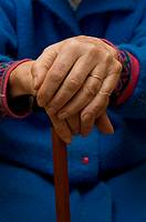 Senior citizen hands, image is