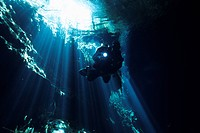 Mexico, Quintana Roo State, Riviera Maya, diver in the cenote flooded cave of Chac Mool, near Tulum