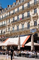 France, Herault, Montpellier, place de la Comedie Comedy Square, terraces of cafe