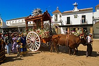 Spain, Andalusia, Huelva Perovince, El Rocio pilgrimage Pentecost, every city has its brotherhood and a representative trolley