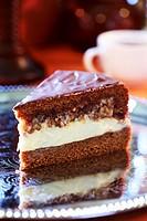 A piece of caramel cake